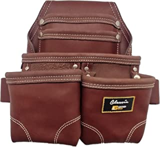 Leather Gold Nail Pouch | Leather Tool Pouch 3350DP, 5 Pockets, Brown, Oil-Tanned Leather, Heavy Duty Carpenter Tool Belt With Reinforced Seams and 2 Hammer Holders