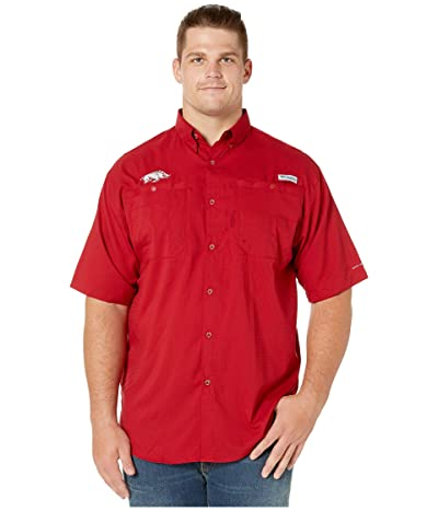 Columbia College Big Tall Arkansas Razorbacks Tide Collegiate Tamiamitm II Short Sleeve Shirt (Red Velvet) Men