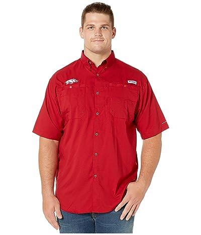 Columbia College Big Tall Arkansas Razorbacks Tide Collegiate Tamiami II Short Sleeve Shirt (Red Velvet) Men