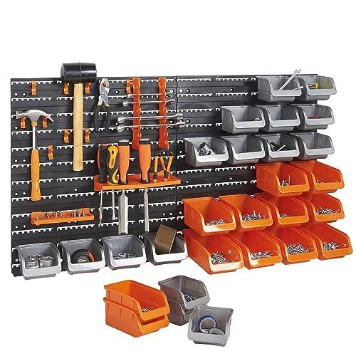 2c5d62c9774 VonHaus 44 Pcs Wall Mount Storage Organiser Bin Panel Rack with Tool Holder  and Hook Set