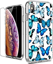 LUHOURI iPhone X Case,iPhone Xs Case with Screen Protector,Clear with Floral Flower for Girls Women,Shockproof Slim Fit Pr...