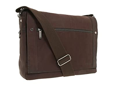 Kenneth Cole Reaction Busi-Mess Essentials Single Gusset Flapover Messenger Bag (Brown) Messenger Bags