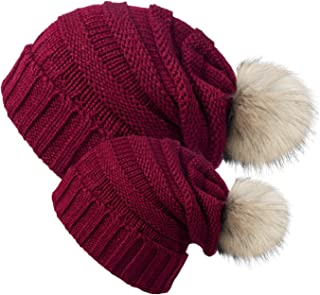 2 Pack Parent-Child Hat Winter Baggy Slouchy Beanie Hat Warm Knit Pom Pom Beanie for Women & Baby