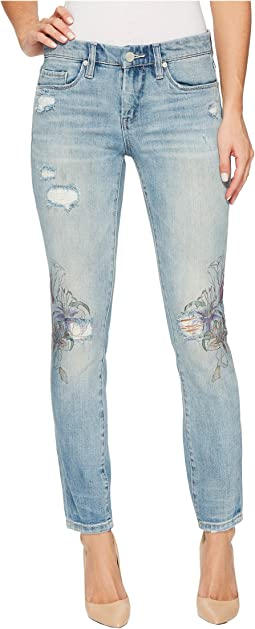 Floral Detail Distressed Skinny in Going Digital