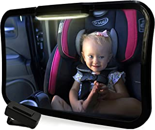 Baby Travel Backseat Mirror with Light | Large Rear Facing Mirror for Infant Carseat | FREE Window Sunshades | Wide View Angle with 360-Degree Pivot | Remote-Activated Light System| Shatterproof Glass