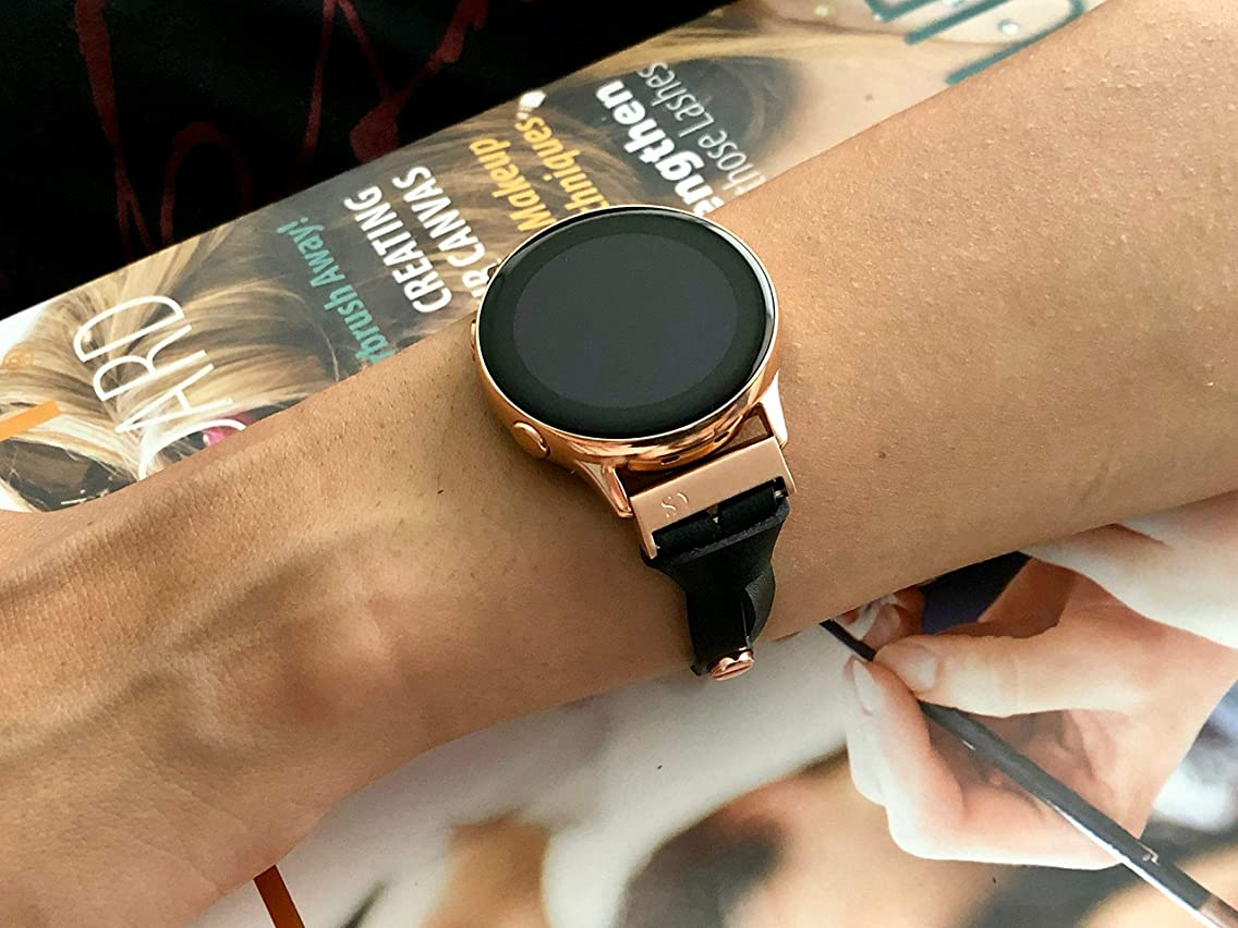 Black Leather & Rose Gold Jewelry Bracelet for Samsung Galaxy Watch Active 40mm Genuine Thin Adjustable Size Strap Smartwatch Band Women Accessory Watchband