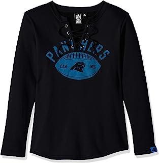 Icer Brands NFL Carolina Panthers Women's Fleece Sweatshirt Lace Long Sleeve Shirt, Small, Black