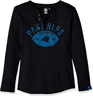 Icer Brands NFL Carolina Panthers Women's Fleece Sweatshirt Lace Long Sleeve Shirt, Small, Black