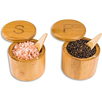 "Scavyn Engraved Bamboo Salt and Pepper Cellars - Spice Containers - Magnetic Swivel Lids - 2 Wooden Boxes with Spoons - 3.5"" x 3.0"""