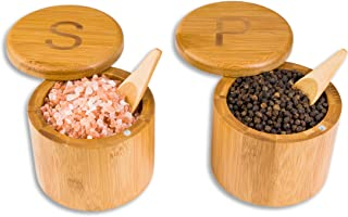 Scavyn Engraved Bamboo Salt and Pepper Box Set with Spoons, Bamboo Storage Boxes with Magnetic Swivel Lids, S
