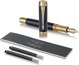 قلم چشمه قلمي PARKER Duofold Centennial، Chestron Blue Prestige، Nine Gold Fine Solid، Ink Black and Converter (1931369)