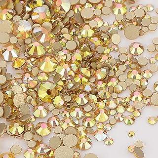 Dowarm 2650 Pieces Glass Flat Back Crystal Rhinestones Round Gems, 6 Sizes 1.5mm - 6.5mm, Flatback Crystals Loose Gemstone...