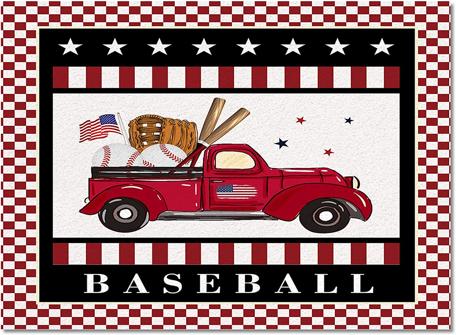 Elegant Meet OFFicial mail order 1998 Baseball Red Truck Star Rugs Durable Indoor W Area