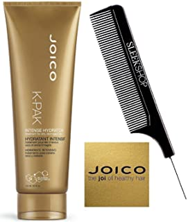Joico K-PAK INTENSE HYDRATOR Treatment for Dry, Damaged Hair (with Sleek Steel Pin Tail Comb) Bio-Advanced Peptide Complex (8.5 oz/250 ml)