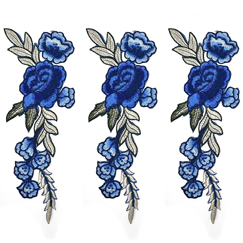 Monrocco 4 Pcs Royal Blue Rose Sew Iron on Applique Embroidered Patches DIY Motif Fabric Applique Decoration Patch