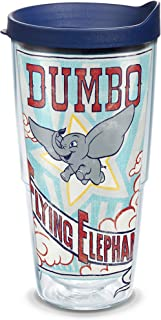 Tervis 1319331 Disney - Dumbo Insulated Travel Tumbler with Wrap and Navy Blue Lid, Tritan, 24 Fluid_Ounces, Clear