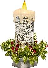 "Roman 9"" Swirl Candle W/Pine Wreath B/O W/O Batteries W/Warm LED"