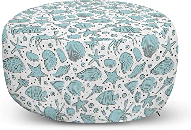 Lunarable Nautical Ottoman Pouf, Hand Drawn Maritime Theme Sketch with Fishes Sea Shells and Starfishes, Decorative Soft Foot Rest with Removable Cover Living Room and Bedroom, White and Pale Blue