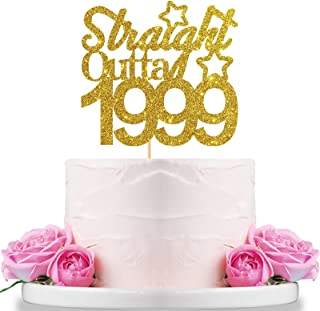 WeBenison Glitter Straight Outta 1999 Cake Topper for 22nd Birthday/Wedding Anniversary - Cheers to 22 Years Party Decorations Supplies Gold