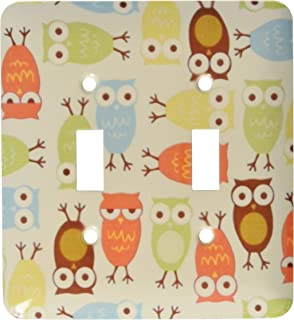 2 Gang Wall Plate Cover Decorator Wall Switch Light Plate Double Toggle Switch Owl I Cute In Olive Green N Yellow Orange C...