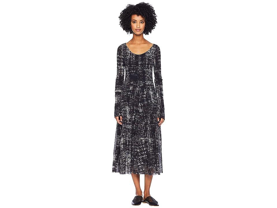 FUZZI Long Sleeve Plaid Dress (Nero) Women