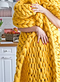 HomeModa Studio Chunky Knit Throw Blankets, Super Bulky Soft Warm Braid Knit Rug Couch Bed Lounge Home Decorator (Throw: 100x120 cm, Yellow)
