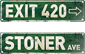 2 Pieces Vintage Exit Sign Decor Retro Stoner Avenue Street Sign and Rustic Exit 420 Sign Metal Tin Sign for Home Wall Decor 4 x 16 Inches