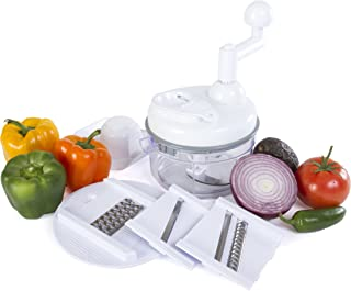 Kitchen + Home Manual Food Chopper - 4 in 1 Miracle Chopper, Salsa Maker, Blender, Slicer, Shredder and Julienne – As Seen on TV Manual Food Processor