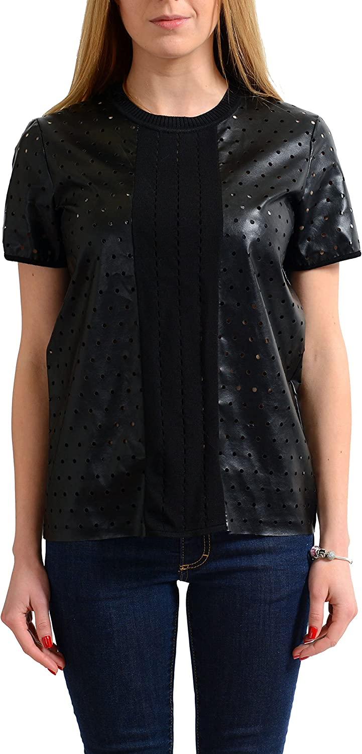 Just Cavalli Women's Black Perforated Short Sleeve Blouse Top US S IT 40