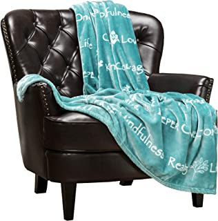 Chanasya Yoga Happiness Blissfulness Message Based Gift Throw Blanket - Super Soft Fluffy Cozy Comfort Personnel Loving Caring Positivity Gift Blanket for Women Men Best Friend Birthday - Turquoise