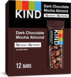 KIND Bars, Dark Chocolate Mocha Almond, Gluten Free, Low Sugar, 1.4 Ounce Bars, 12 Count (Packaging May Vary)