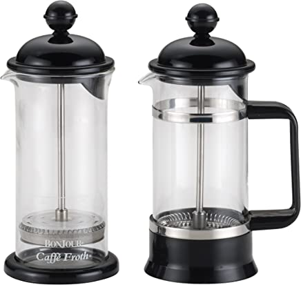 featured product BonJour Coffee Borosilicate Glass French Press & Milk Frother Set,  12.7-Ounce,  La Petite,  Black