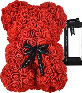 Rose Bear Rose Teddy Bear Best Gift for Valentines Day, Anniversary, Birthdays & Bridal Showers Fully Assembled 10 inch Fl...