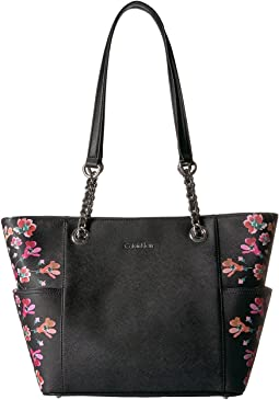 Key Item Floral Printed Saffiano Chain Tote