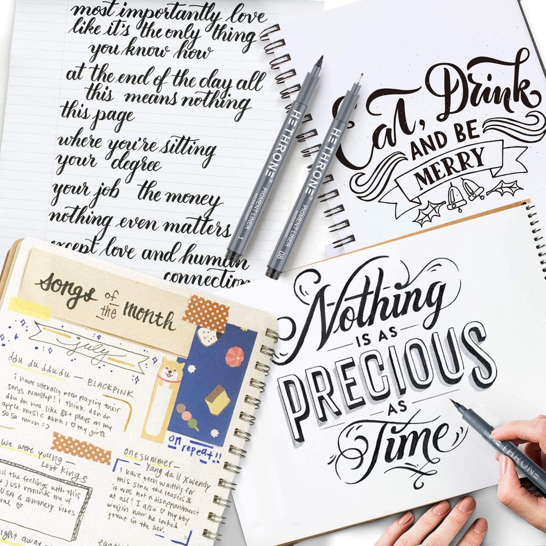 12 tama/ños escritura Hethrone Juego de bol/ígrafos de letras a mano dise/ño ilustrativo y dibujo firma caligraf/ía y caligraf/ía negra para principiantes