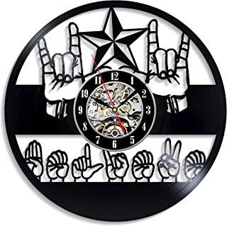 Levescale - ASL Amecan Sign Language - Vinyl Wall Clock with Word Believe - Express Shipping for Boy, Girl, Man Or Woman, Decoration for Kids Room, Deaf Communities, Natural Language