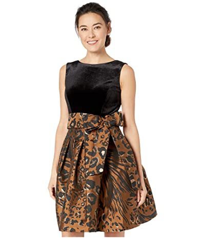 Tahari by ASL Petite Sleeveless Velvet and Animal Print Jacquard Cocktail Dress (Copper Leopard) Women