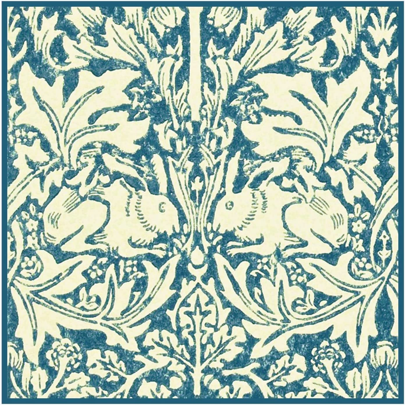 Orenco Originals Brother Rabbits Hares in Blues William Morris Design Counted Cross Stitch Pattern