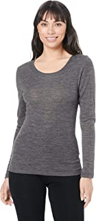 baselayers Women's Wool Blend 165gsm 1x1 Rib Scoop Neck Thermal Long Sleeve top