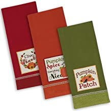 "DII Fall Basics Collection Embellished Dishtowel Set, 18x28"", Country Pumpkin 3 Piece"