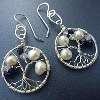 Tree-of-Life Earring Alexandrite Freshwater Pearl Moonstone Earrings 3rd Anniversary 30th Gift