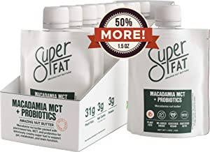 SuperFat Nut Butter Keto Snacks - Macadamia & Almond Nut Butter Fat Bomb Paleo Snack For Energy & Brain Function, Vegan, Gluten Free, Low Net Carb Box of 10 x 1.5 oz (Macadamia MCT + Probiotics)