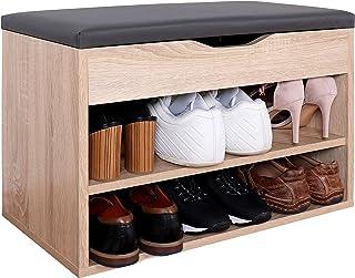comprar comparacion RICOO WM032-ES-A, Banco Zapatero, 60x42x30cm, Armario Interior con Asiento, Organizador Zapatos, Mueble recibidor, Percher...