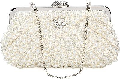 ORSERA Damen Clutch Abendtasche Handtasche Handmade Clutch Kleine Perlen Diamant Ring Schnalle Brauttasche Hochzeittasche