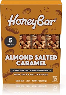 HoneyBar Snack bar, Almond Salted Caramel, Gluten-Free, Non-GMO, Vegetarian, 1.4 oz, 5 count