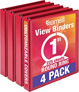 Samsill Economy 3 Ring View Binder, 1 Inch Round Ring – Holds 225 Sheets, PVC-Free / Non-Stick Customizable Cover, Red, 4 Pack