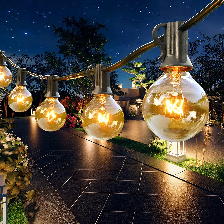 Outdoor String Lights 120ft G40 126 Columbus Mall Spare Bulbs 6 Deluxe Edison Globe