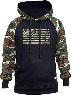 Men's Digital Camo US Flag Black/Camo Raglan Baseball Hoodie Black
