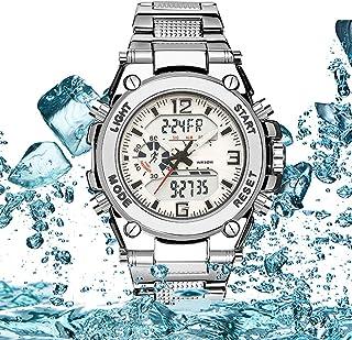 Digital Watch Men Waterproof, Waterproof Military Analog Digital Watches with LED Multi Time Chronograph, Stainless Steel ...