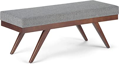 Simpli Home Chanelle 48 inch Wide Mid Century Modern Ottoman Bench in Pebble Grey Tweed Fabric